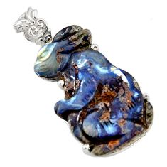 23.72cts natural brown boulder opal carving 925 sterling silver pendant r30796