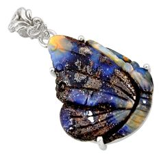 21.36cts natural brown boulder opal carving 925 sterling silver pendant r30799