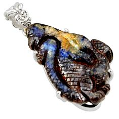 26.19cts natural brown boulder opal carving 925 sterling silver pendant r38334