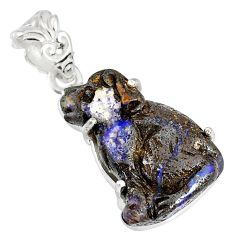 15.34cts natural brown boulder opal carving 925 silver handmade pendant r79446