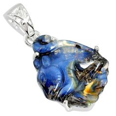 14.20cts natural brown boulder opal carving 925 silver handmade pendant r79448