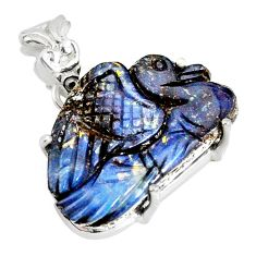 20.63cts natural brown boulder opal carving 925 silver handmade pendant r79457