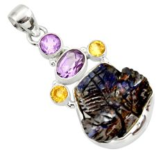 Clearance Sale- 19.20cts natural brown boulder opal carving amethyst 925 silver pendant d44643