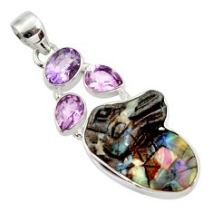 17.57cts natural brown boulder opal carving amethyst 925 silver pendant d44646