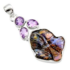 20.65cts natural brown boulder opal carving amethyst 925 silver pendant d44648