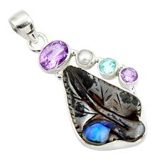 18.15cts natural brown boulder opal carving amethyst 925 silver pendant d44653