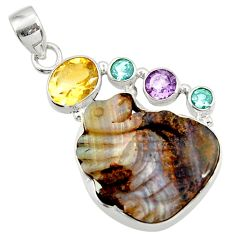 Clearance Sale- 21.18cts natural brown boulder opal carving amethyst 925 silver pendant d45214