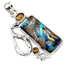 22.29cts natural brown boulder opal carving silver anaconda snake pendant d44659