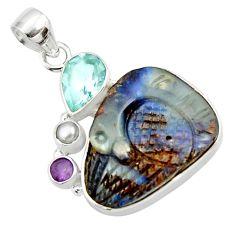 24.00cts natural brown boulder opal carving topaz 925 silver pendant d44651