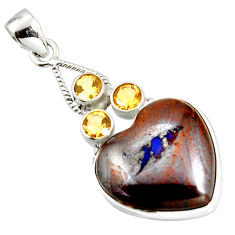 29.40cts natural brown boulder opal citrine 925 sterling silver pendant r20321