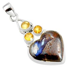 22.41cts natural brown boulder opal citrine 925 sterling silver pendant r20323