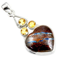 25.60cts natural brown boulder opal citrine 925 sterling silver pendant r20326