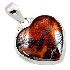 16.73cts natural brown boulder opal heart 925 sterling silver pendant r50021
