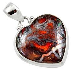 17.57cts natural brown boulder opal heart 925 sterling silver pendant r50025