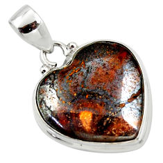16.18cts natural brown boulder opal heart 925 sterling silver pendant r50026