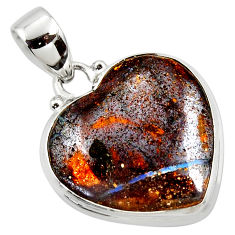 15.08cts natural brown boulder opal heart 925 sterling silver pendant r50033
