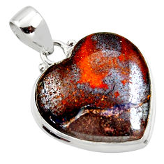 16.73cts natural brown boulder opal heart 925 sterling silver pendant r50034