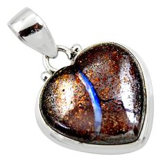 14.72cts natural brown boulder opal heart 925 sterling silver pendant r50037