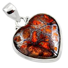 17.57cts natural brown boulder opal heart 925 sterling silver pendant r50038