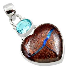 17.18cts natural brown boulder opal heart topaz 925 silver pendant r50002