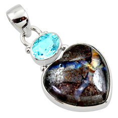 16.73cts natural brown boulder opal heart topaz 925 silver pendant r50005