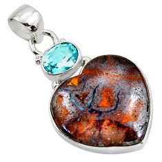 18.68cts natural brown boulder opal heart topaz 925 silver pendant r50009