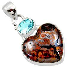 16.73cts natural brown boulder opal heart topaz 925 silver pendant r50014
