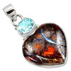 18.15cts natural brown boulder opal heart topaz 925 silver pendant r50016