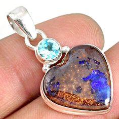 12.18cts natural brown boulder opal heart topaz 925 silver pendant r76422
