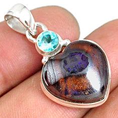 13.70cts natural brown boulder opal heart topaz 925 silver pendant r76423
