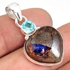 13.15cts natural brown boulder opal heart topaz 925 silver pendant r76425