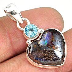 11.12cts natural brown boulder opal heart topaz 925 silver pendant r76426