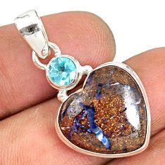 12.58cts natural brown boulder opal heart topaz 925 silver pendant r76427