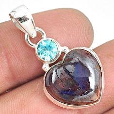 12.07cts natural brown boulder opal heart topaz 925 silver pendant r76429