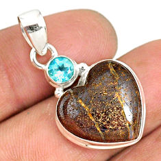 13.15cts natural brown boulder opal heart topaz 925 silver pendant r76431