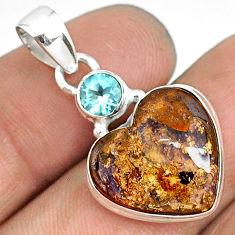 10.60cts natural brown boulder opal heart topaz 925 silver pendant r76432