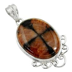 27.08cts natural brown chiastolite 925 sterling silver pendant jewelry r30541