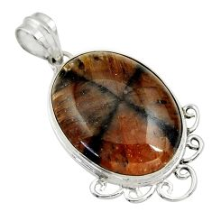 26.70cts natural brown chiastolite 925 sterling silver pendant jewelry r30542