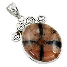 26.00cts natural brown chiastolite 925 sterling silver pendant jewelry r30545