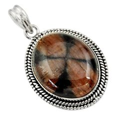 31.54cts natural brown chiastolite 925 sterling silver pendant jewelry r30549