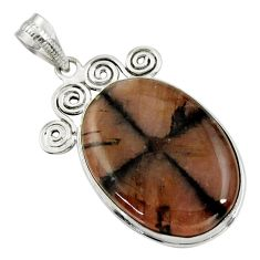 28.27cts natural brown chiastolite 925 sterling silver pendant jewelry r30550