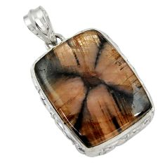 29.93cts natural brown chiastolite 925 sterling silver pendant jewelry r30554