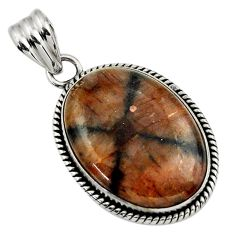 25.57cts natural brown chiastolite 925 sterling silver pendant jewelry r31982