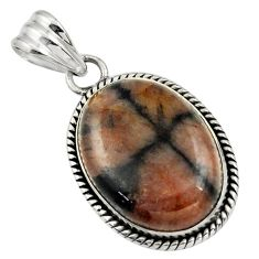 24.38cts natural brown chiastolite 925 sterling silver pendant jewelry r31983