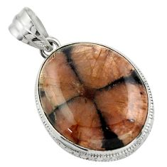 24.38cts natural brown chiastolite 925 sterling silver pendant jewelry r31985
