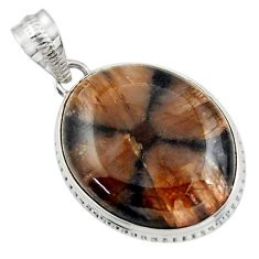 22.59cts natural brown chiastolite 925 sterling silver pendant jewelry r31986