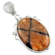 21.48cts natural brown chiastolite 925 sterling silver pendant jewelry r31988