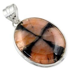 22.59cts natural brown chiastolite 925 sterling silver pendant jewelry r31990
