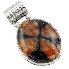 25.60cts natural brown chiastolite 925 sterling silver pendant jewelry r31991
