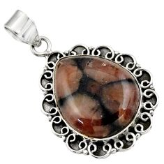 25.66cts natural brown chiastolite 925 sterling silver pendant jewelry r31993